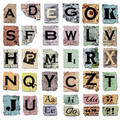alfabeto vintage e segni d'interpunzione
