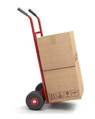 Hand truck with 2 cardboard boxes, isolated on white
