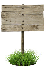 Old wooden board sign, isolated on white