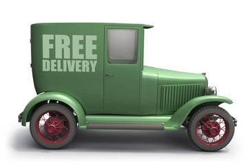 Vintage delivery truck, isolated on white