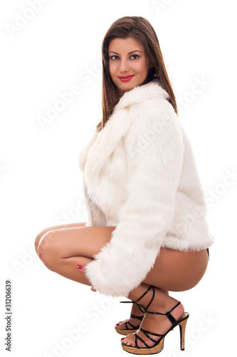 naked girl wearing only fur coat
