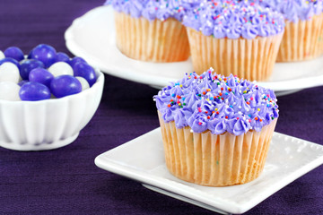 Purple cupcakes and jelly beans for Easter.