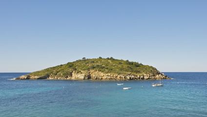 Grüne kleine Insel im Mittelmeer