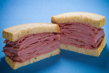 Sliced smoked meat beef sandwich