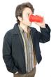 Man Drinking From Plastic Cup