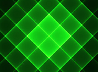 A green squares on a black background