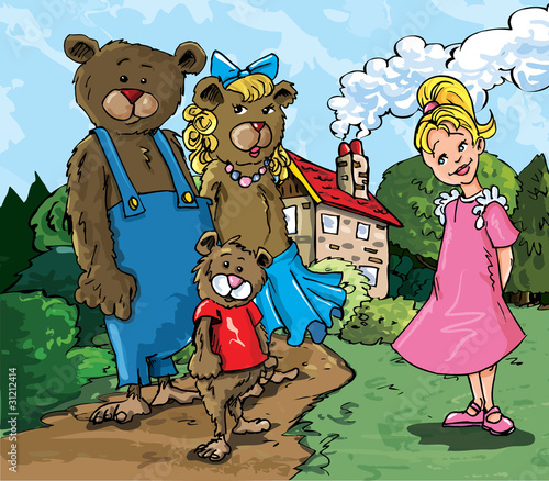 Cartoon of Goldilockes and the three bears