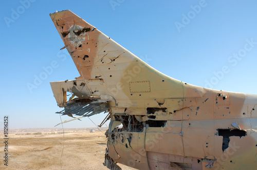 Destroyed military aircraft.