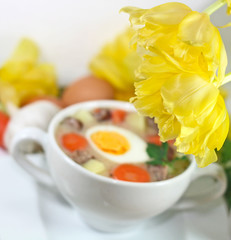 white borscht with eggs and sausage