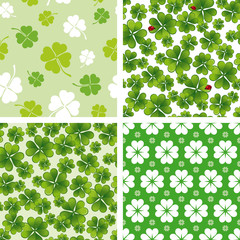 set of seamless clover patterns