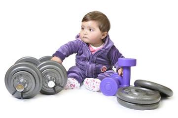 Bebé practicando fitness.