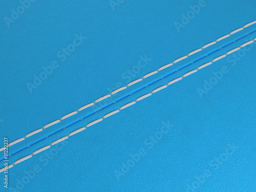 Blue diagonal stitched leather background