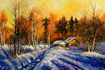 Evening in winter village