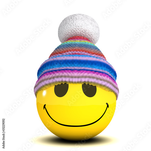 3d Smiley has a wooly hat