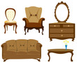 furniture collection isolated illustration