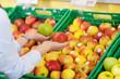 kundin kauft äpfel im geschäft