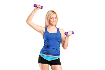 Portrait of a smiling female exercising