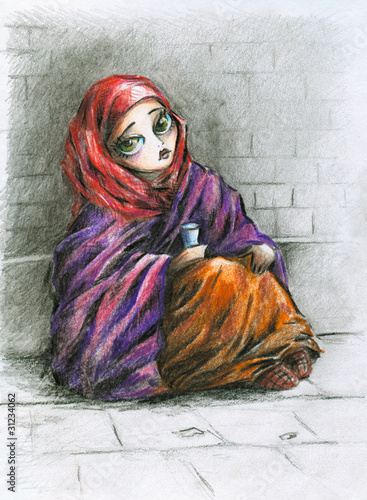 Poor girl-colored pencils