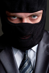 Businessman in black balaclava