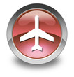 """Red Glossy Pictogram """"Airport / Airplane"""""""