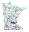 Minnesota State Interstate Map