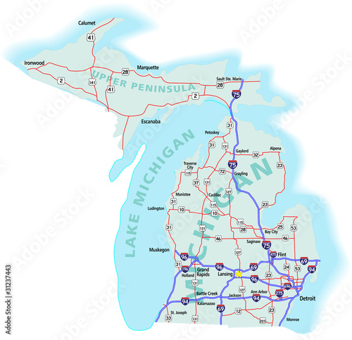 Michigan State Interstate Map