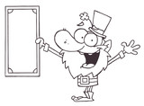 Outlined Wealthy Leprechaun Holding A Dollar Bill poster