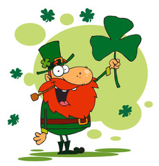 Male Leprechaun Holding Up A Shamrock