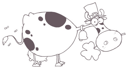 Outlined  Cow Wearing A Hat And Chewing On A Clover