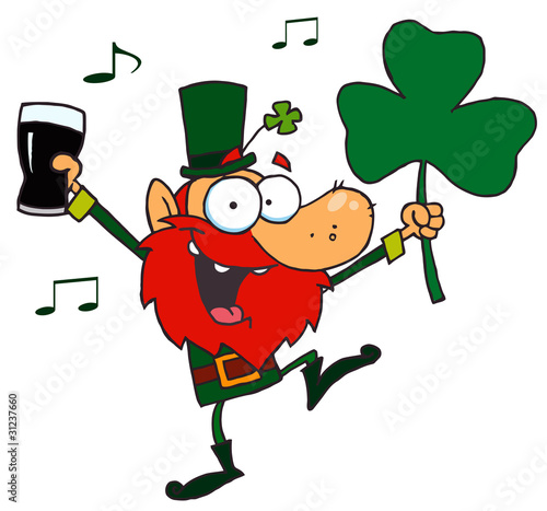Dancing Leprechaun Holding A Clover And Beer