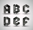 Trendy Black Fractal Geometric Alphabet.
