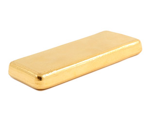 Gold ingot. Real photo