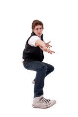 stylish dancer making a hip hop gesture