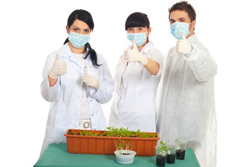 Successful scientists people in laboratory