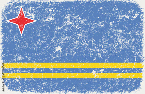 vector grunge styled flag of Aruba