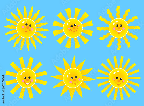 Set of smiling cartoon suns