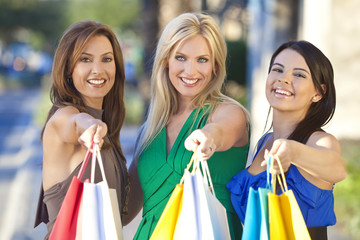 Three Beautiful Women With Fashion Shopping Bags