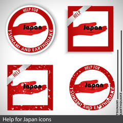Set of icons | symbols for helping Japan. Vector illustration.