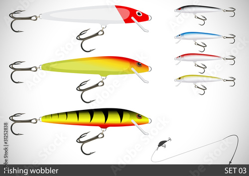Set of fishing wobbler. Vector illustration.