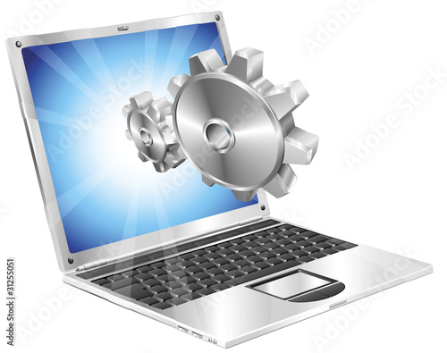 Gear cogs flying out of laptop screen concept