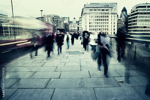canvas print picture Morning commuters in London.