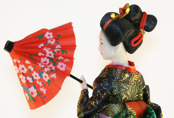 Japenese geisha over white background