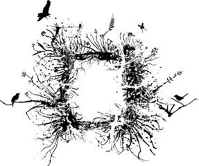 Wild frame made of branches, roots, vegetation and birds