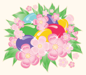 Easter eggs and flowers. vector illustration