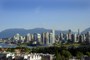 City Skyline of Vancouver in British Columbia in Canada