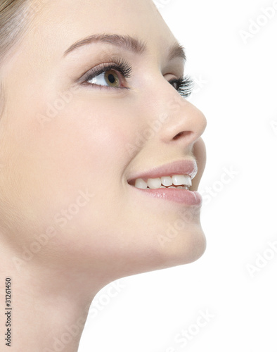 Closeup smiling face of woman