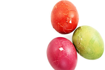 Broken green, red  and pink easter eggs