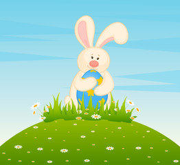 Easter Bunny with colored eggs. Easter card