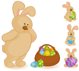 Easter Bunny with basket and colored eggs. Easter card