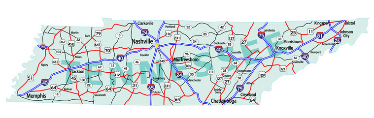 Tennessee State Interstate Map